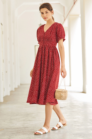 Monroe Dotted Midi Dress in Red