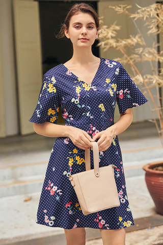 Lorina Floral Dotted Dress