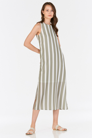 Hiranda Stripes Midi Dress in Sage Green