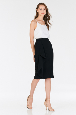 Florinna Ruffled Skirt in Black