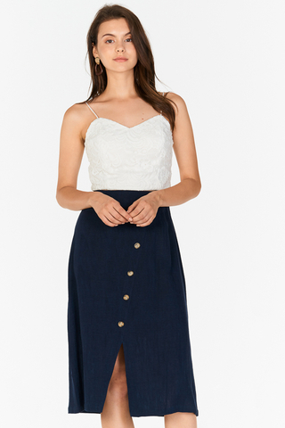 Allisa Linen Midi Skirt in Navy