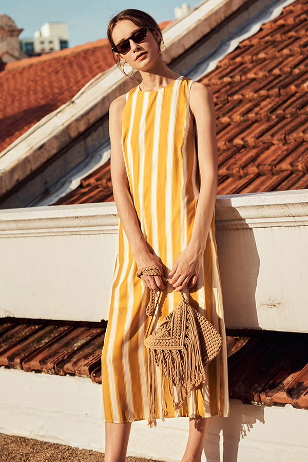 Hiranda Stripes Midi Dress in Mustard