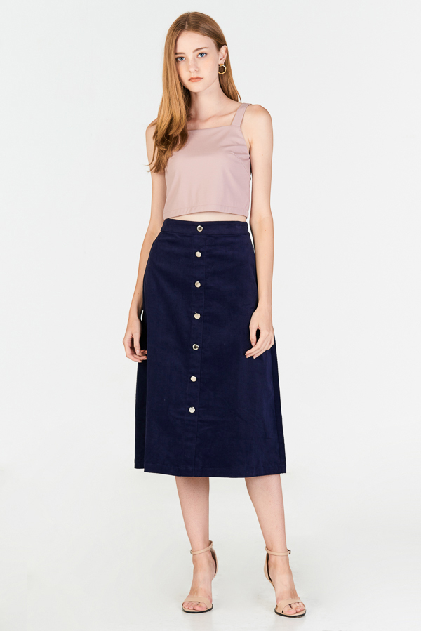 Danita Corduroy Midi Skirt in Navy