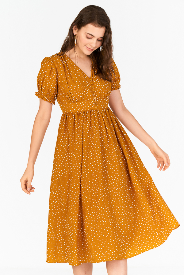 Monroe Dotted Midi Dress in Mustard