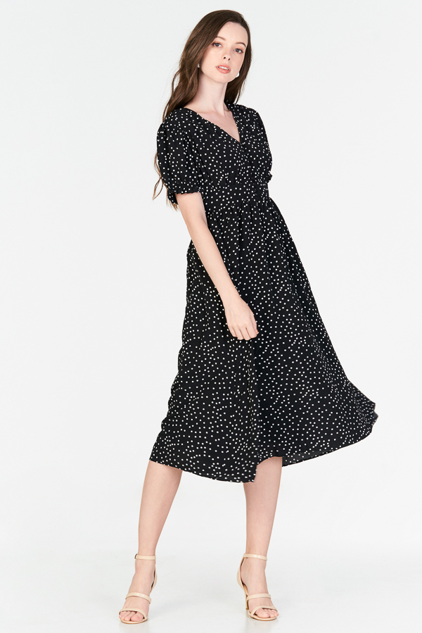 Monroe Dotted Midi Dress in Black