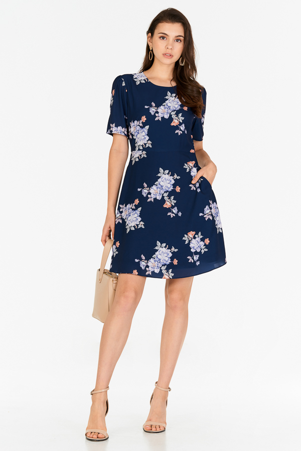 Chandler Floral Printed Dress in Navy
