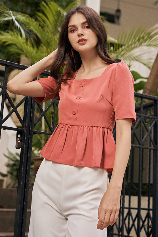 Denara Peplum Top in Pink