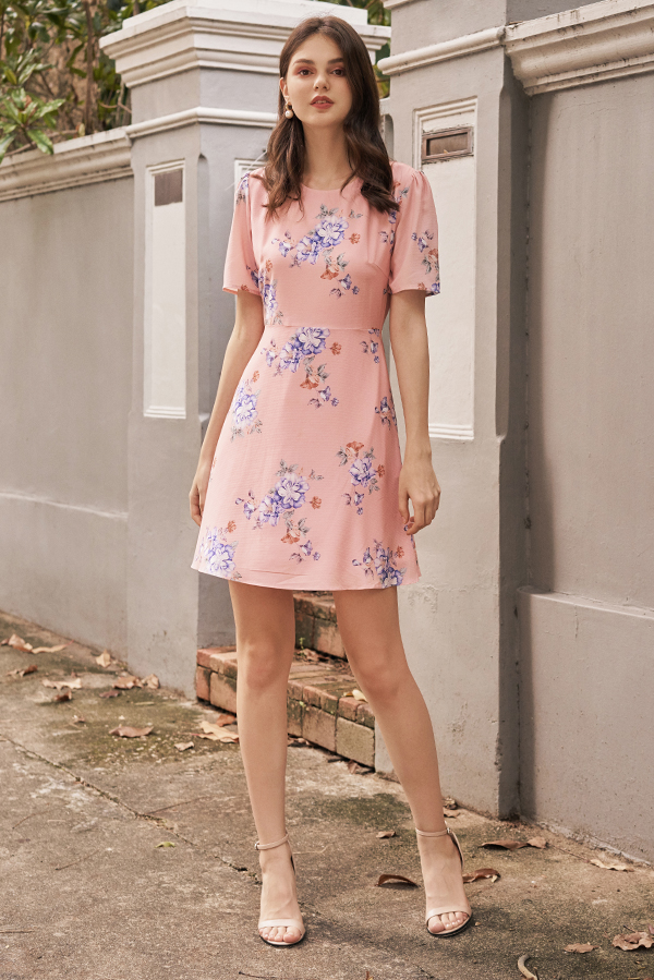 Chandler Floral Printed Dress in Pink