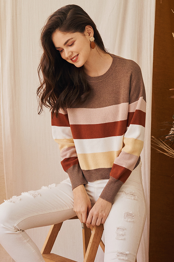 *Restock* Coletta Knitted Striped Pullover in Pink