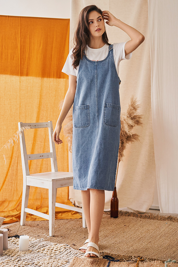 *Backorder* Jaydan Denim Dungaree Dress