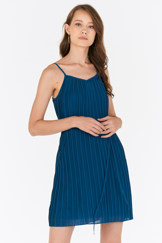 Gerena Pleated Dress in Blue