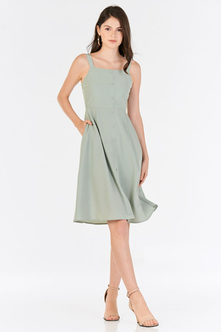 Sollina Buttoned Dress in Sage