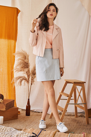 *Restock* Sadie Leather Jacket in Light Pink