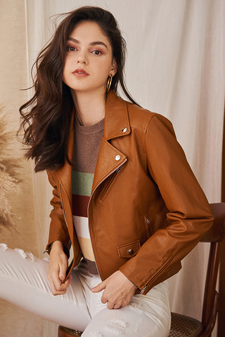*Restock* Sadie Leather Jacket in Tan