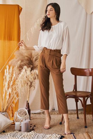Ennira Paperbag Pants in Tan