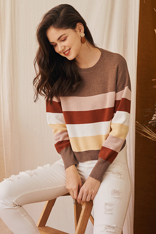 *Backorder* Coletta Knitted Striped Pullover in Pink