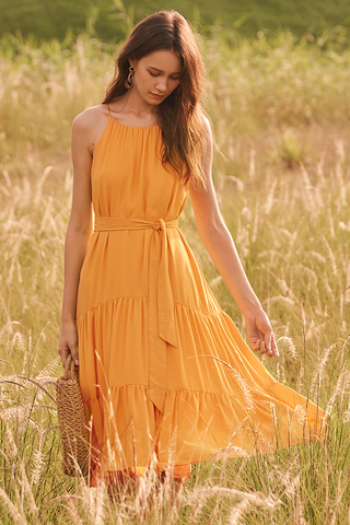 Rowanda Midi Dress in Marigold