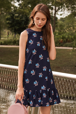 Dorene Floral Printed Dropwaist Dress