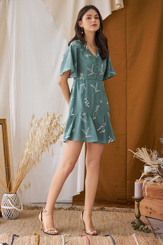 *Backorder* Cerinne Foliage Printed Dress in Seafoam