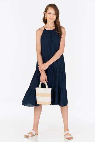 Rowanda Midi Dress in Navy
