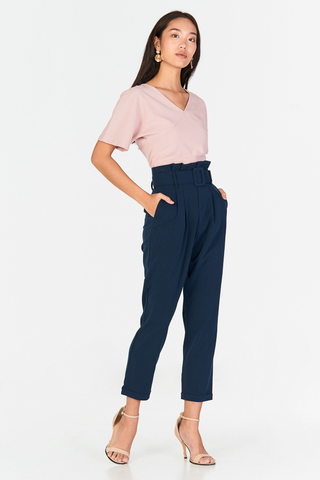 Ennira Paperbag Pants in Navy