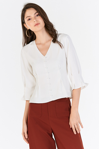 Garina Buttoned Top in White