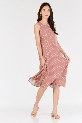 Andereen Polka Dotted Midi Dress in Pink