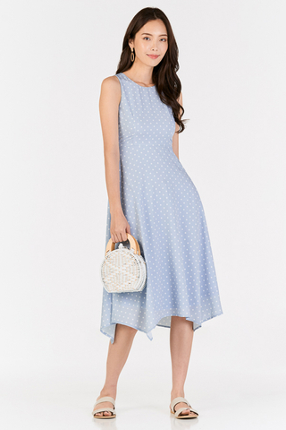 Andereen Polka Dotted Midi Dress in Powder Blue