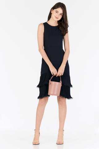 Rindora Ruffled Dress in Navy