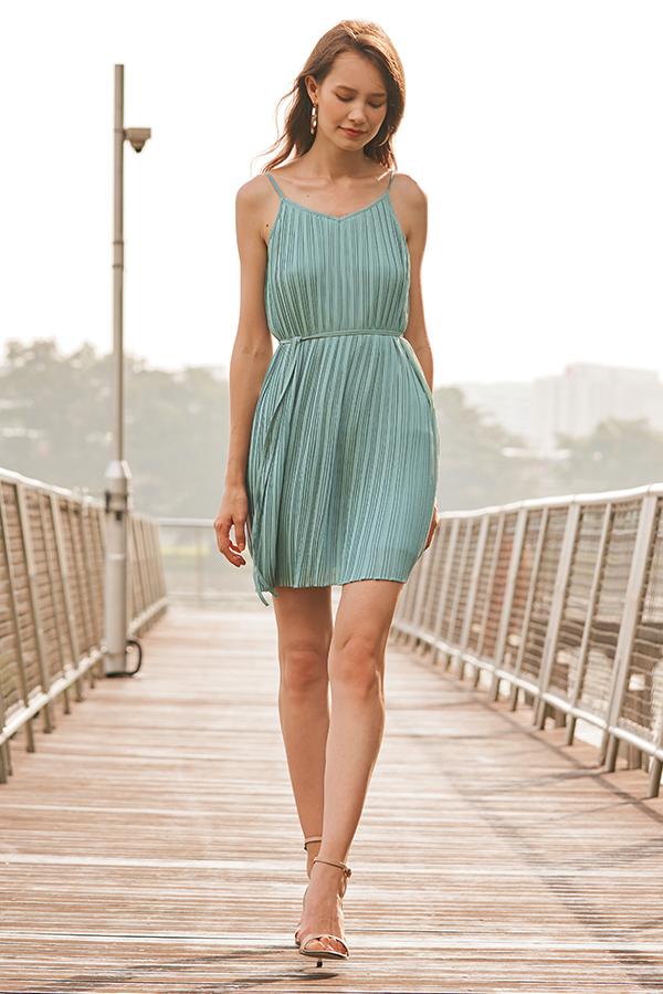 Gerena Pleated Dress in Seafoam