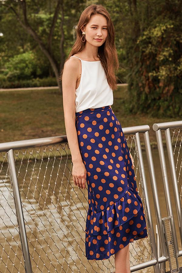 Colita Polka Dotted Midi Skirt