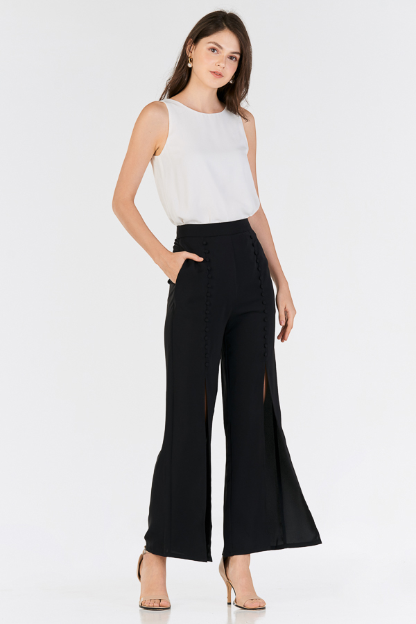 Garina Buttoned Slit Pants in Black