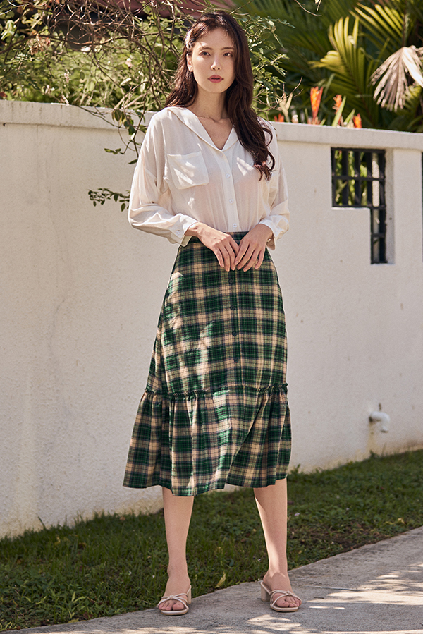 Careena Plaids Midi Skirt