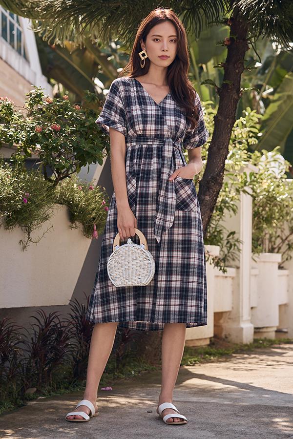 Coreen Plaids Midi Dress