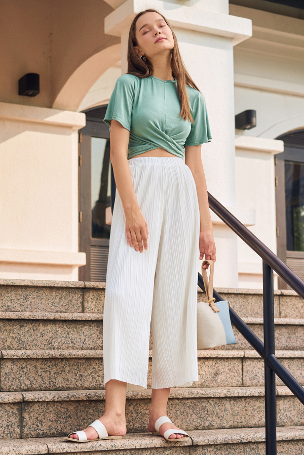 Elenca Pleated Pants in White