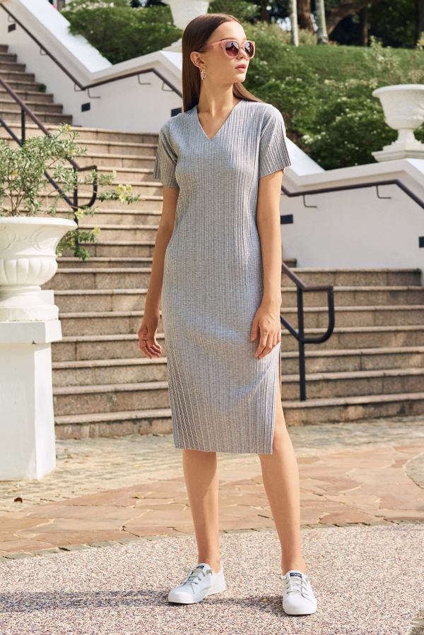 *Backorder* Eleanor Pleated Dress in Grey