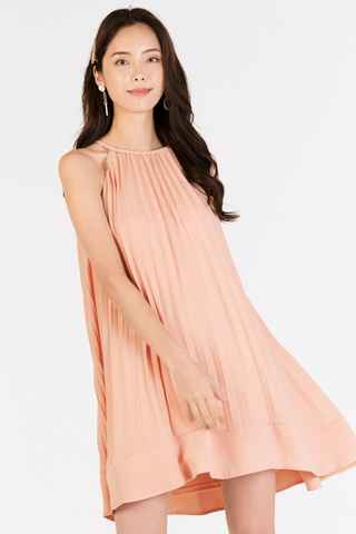 Camillia Pleated Swing Dress in Pink