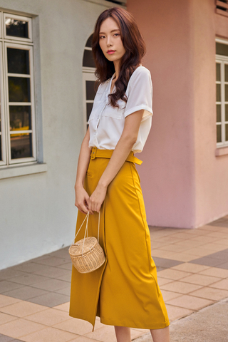 Dyllan Belted Skirt in Mustard