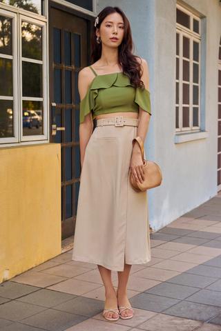 Dyllan Belted Skirt in Khaki
