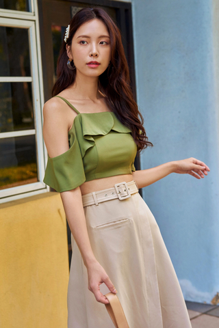Hanna Ruffled Top in Sage