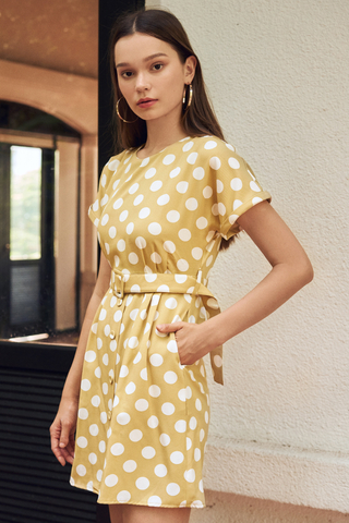*Restock* Ritta Dotted Dress in Dusty Yellow