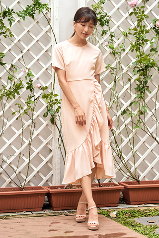 Venecia Ruffled Dress in Nude Pink