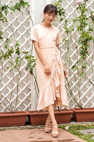Venecia Ruffled Dress in Nude Pink