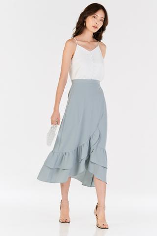 Alessia Midi Skirt in Dusty Blue