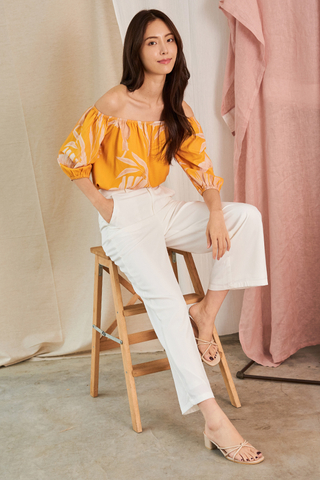 Ednna Foliage Printed Off-Shoulder Top in Marigold