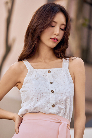 Laurent Eyelet Top