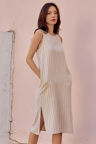 Allean Striped Two Way Linen Midi Dress