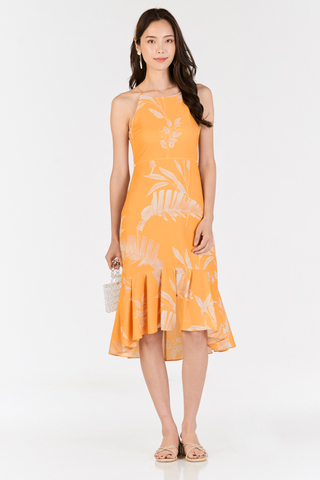 Ednna Foliage Printed Midi Dress in Marigold