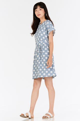*Restock* Ritta Dotted Dress in Powder Blue