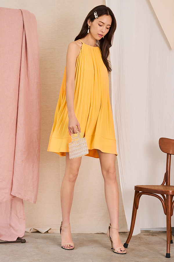 Camillia Pleated Swing Dress in Daffodil